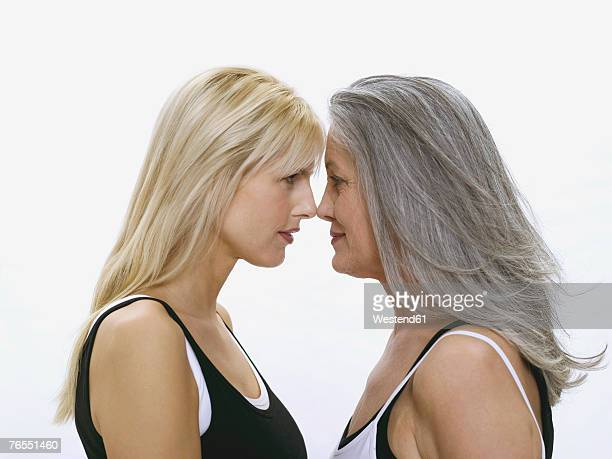 Mother and daughter, face to face
