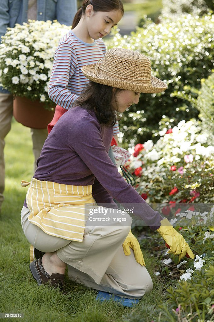 Mother and daughter gardening : Stockfoto