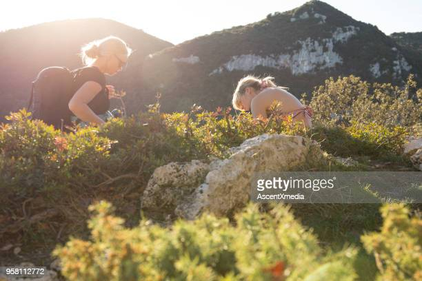 Mother and daughter hikers relax in mountains