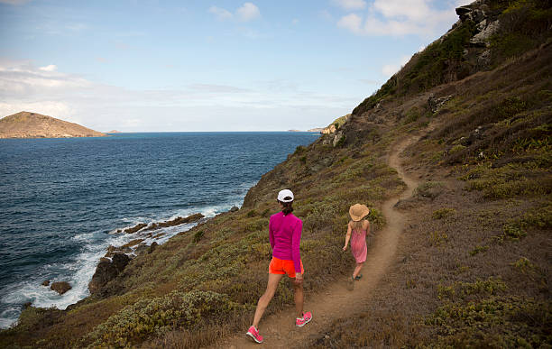 Mother and daughter hiking in St.Barts