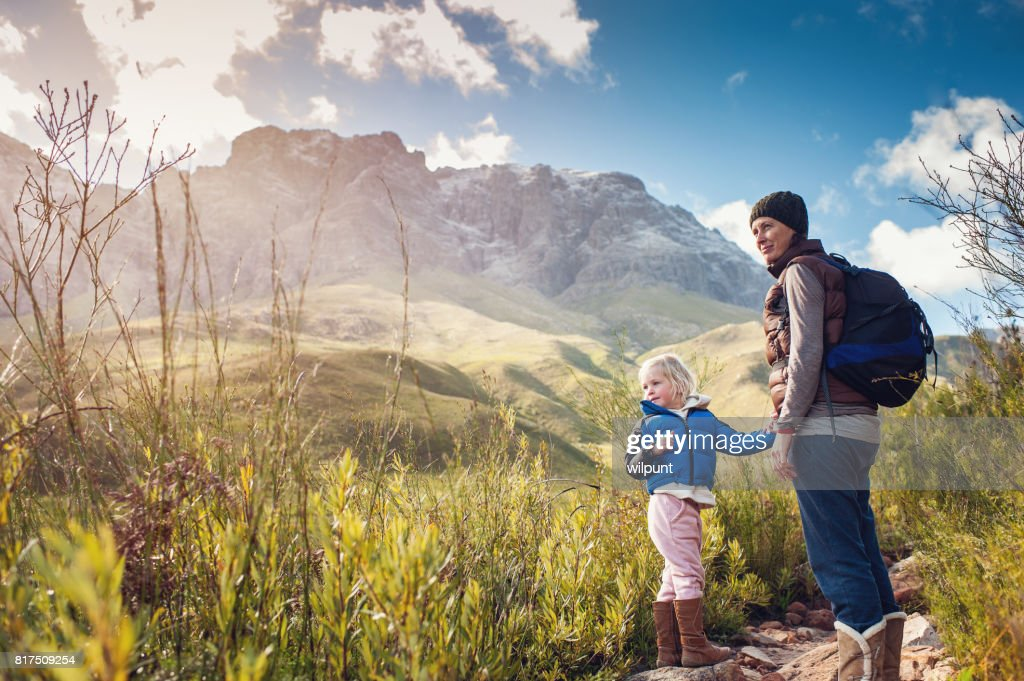 Mother and Daughter Hiking Outdoors : Stock Photo