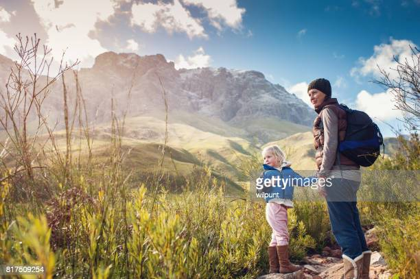 Mother and Daughter Hiking Outdoors