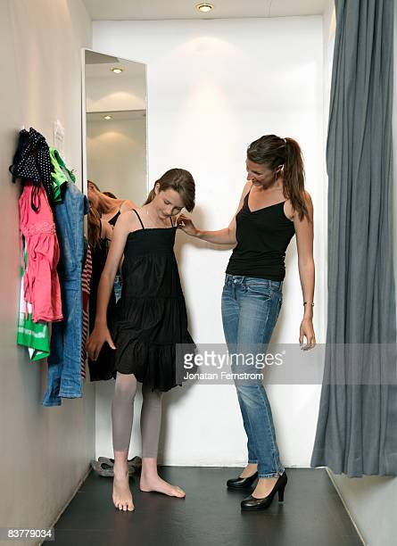 Mother and daughter in dressing room