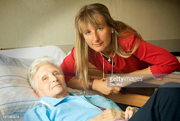 Mother and daughter in hospital