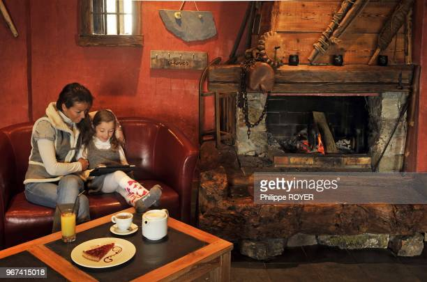 mother and daughter in hotel called Carlina La Plagne ski resort Savoy France