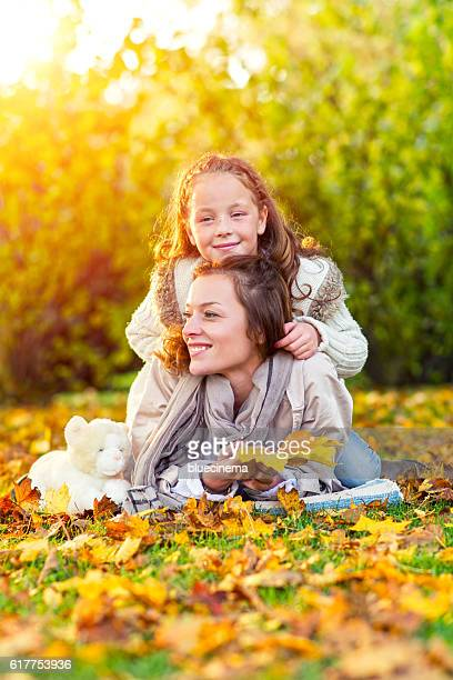 Mother and daughter in nature