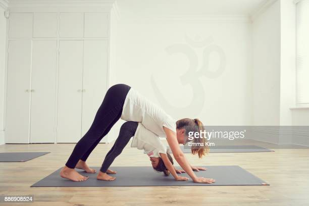 mother and daughter in yoga studio, standing together in yoga position - little girls bent over stock photos and pictures