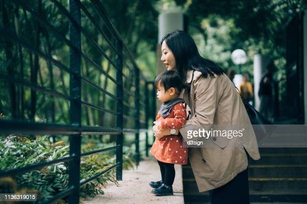 mother and daughter looking at the cute little animals outside the fence in park - zoo stock pictures, royalty-free photos & images