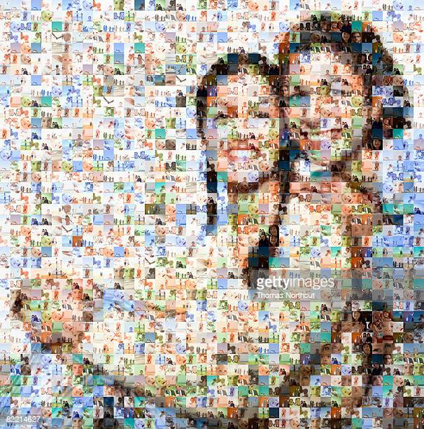 mother and daughter made out of family imagery - mosaic stock pictures, royalty-free photos & images