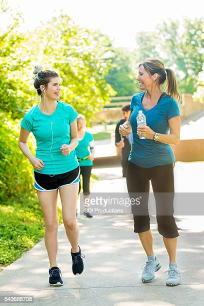 Mother and daughter on a run together