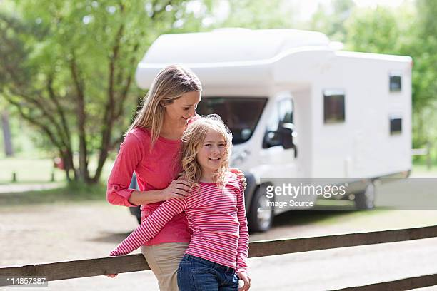 Mother and daughter on caravan holiday