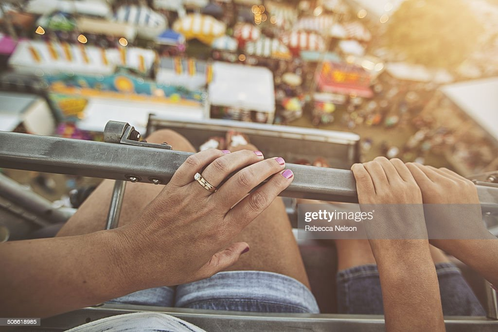 Mother and daughter on Ferris wheel : Stock Photo