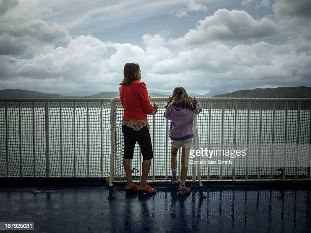 Mother and daughter on ferry.