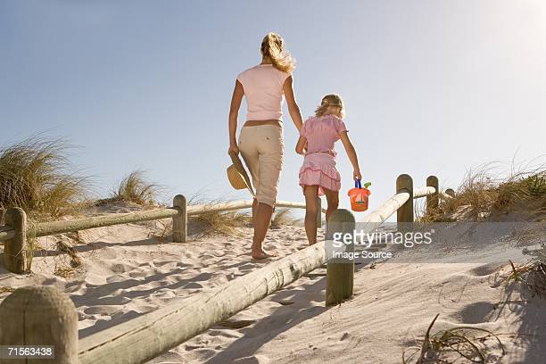 Mother and daughter on sand dune
