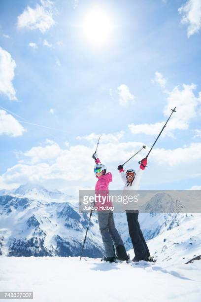 Mother and daughter on skiing holiday, Hintertux, Tirol, Austria