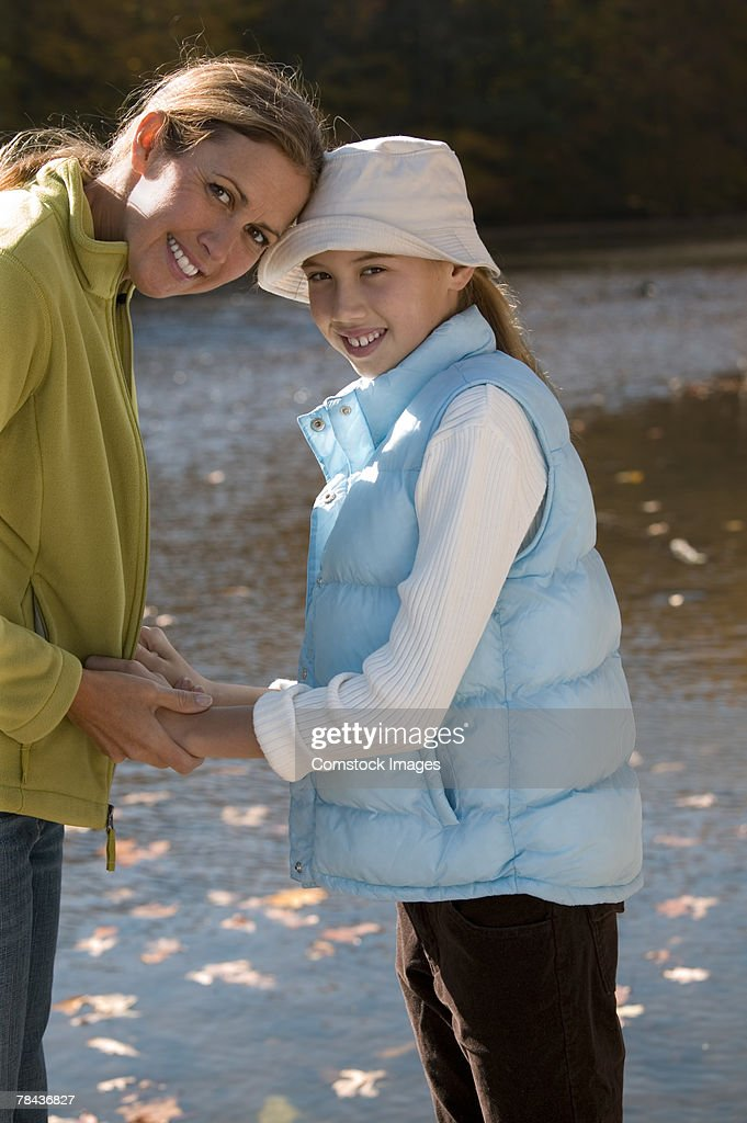 Mother and daughter outdoor : Stockfoto