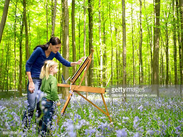 Mother and daughter painting, outdoors