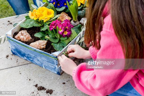 Mother And Daughter Planting Spring Flower in Crate