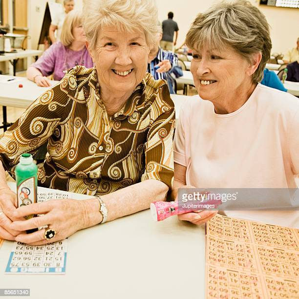 Mother and daughter playing bingo