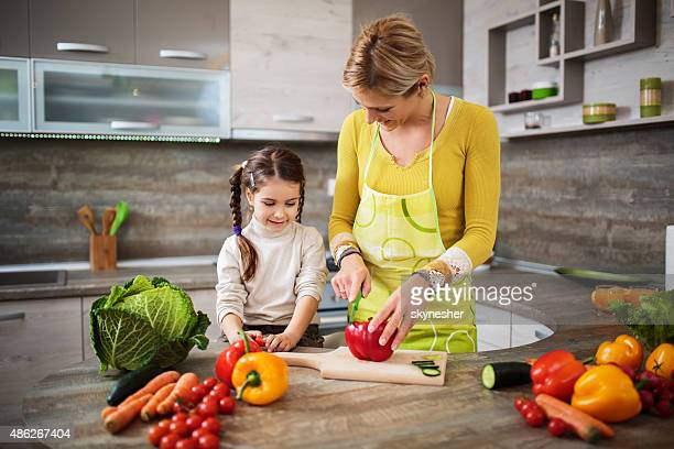 Mother and daughter preparing food in the kitchen.