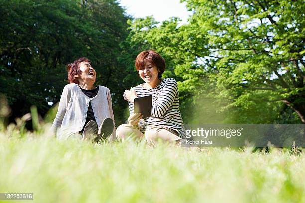 mother and daughter relaxed in the park