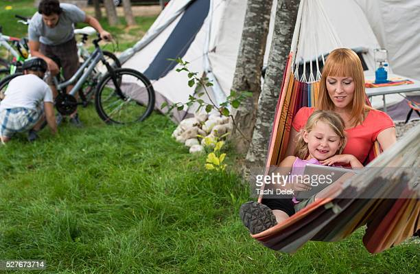 Mother and daughter relaxing in Hammock.