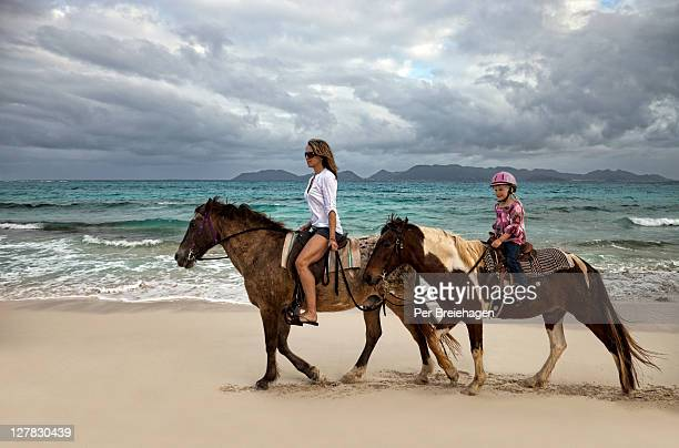 Mother and daughter riding horses on a beach
