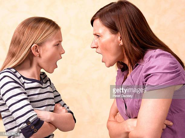 Mother and daughter screaming at each other