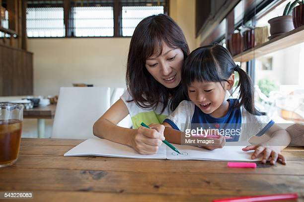 Mother and daughter sitting at a table, drawing with felt tip pens, smiling.