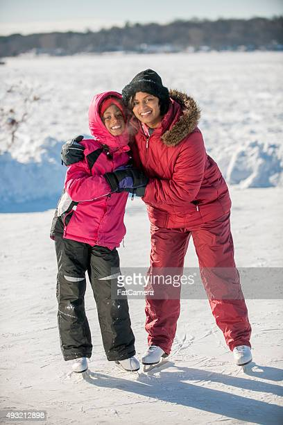 Mother and Daughter Skating Together