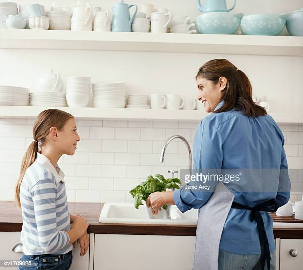 Mother and Daughter Stand by a Kitchen Counter, Mother Watering Basil Plant