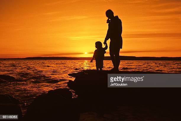 Mother and Daughter, Sunset Silhouette