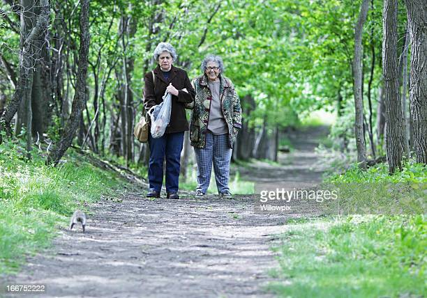 mother and daughter surprised by squirrel - fat granny stock pictures, royalty-free photos & images