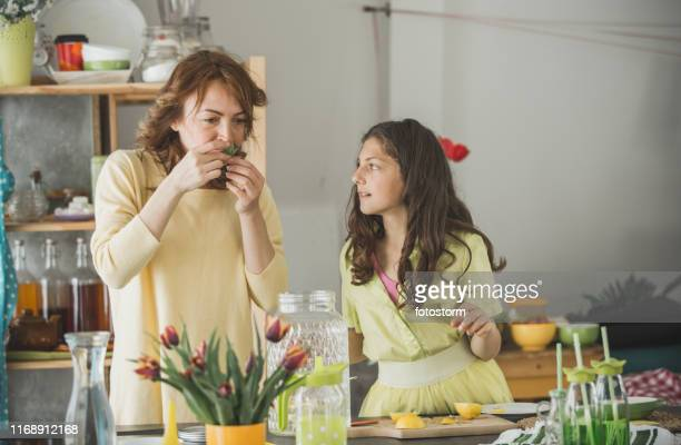 mother and daughter tasting ingredients while preparing lemonade together - mint plant family stock pictures, royalty-free photos & images