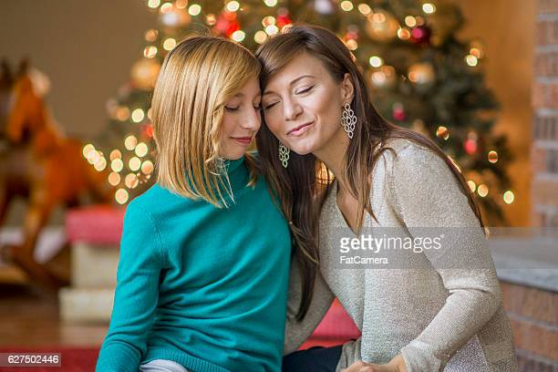 Mother and Daughter Together on Christmas
