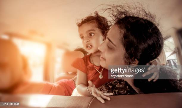 mother daughter traveling car joy