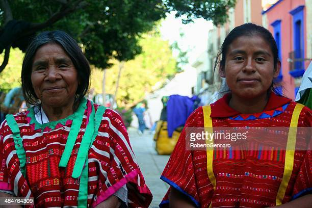 mother and daughter two mayan women color - oaxaca stock pictures, royalty-free photos & images