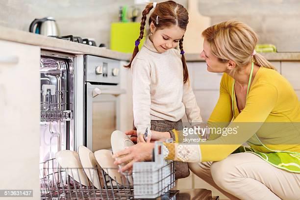 Mutter und Tochter mit Geschirrspüler.