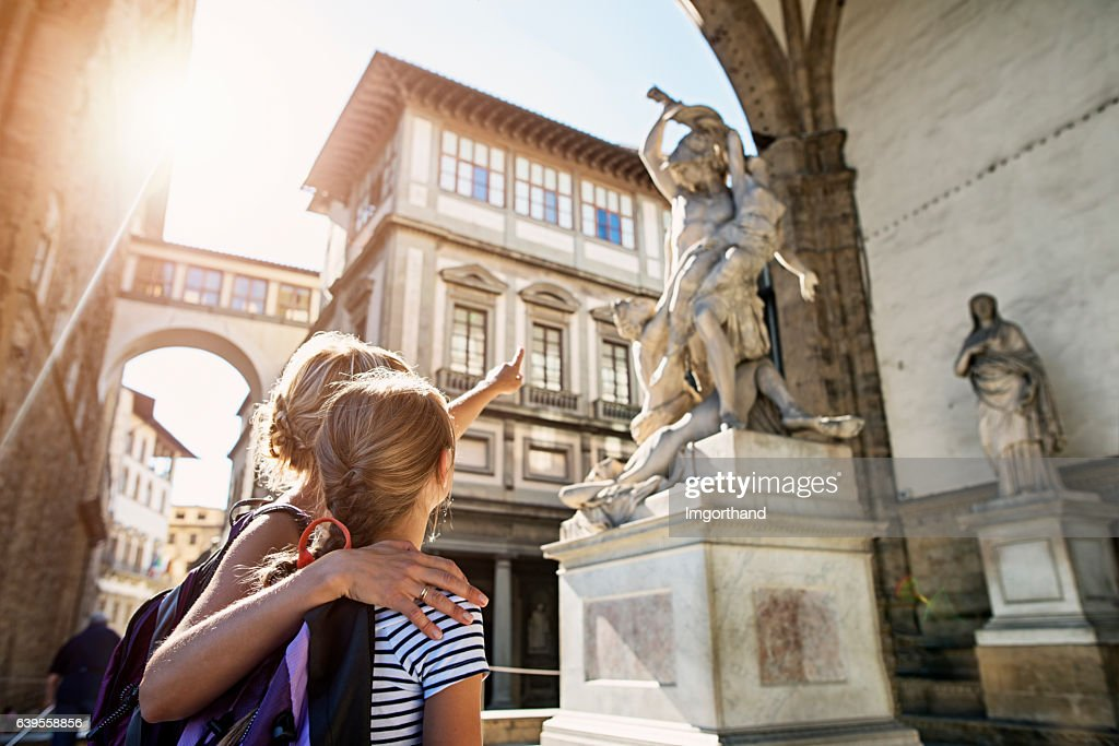 Mother and daughter visiting city of Florence (Firenze), Tuscany : Stock Photo