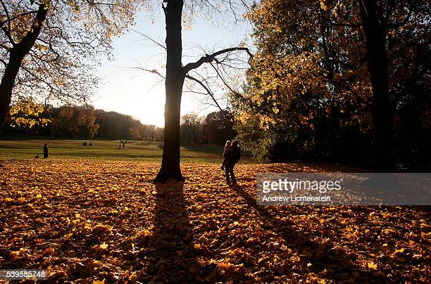 Mother and daughter walk through a field of fallen leaves in Prospect Park, Brooklyn.