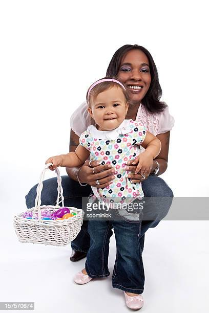 Mother And Daughter With Easter Basket