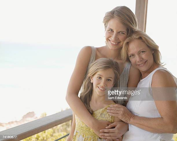 mother and daughter with granddaughter - granddaughter stock photos and pictures