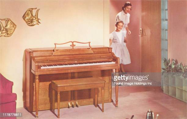 Mother and Daughter with New Piano