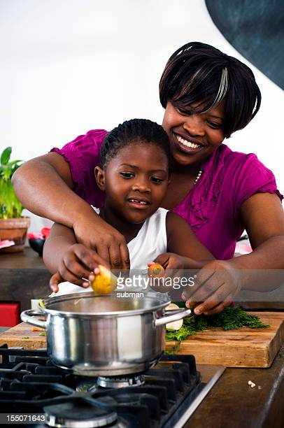 Mother and daugter cooking
