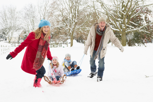 Mother And Father Pulling Children On Sledge 133849205