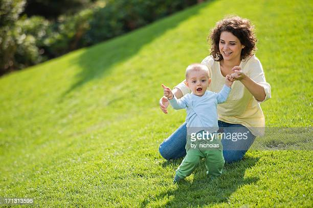 Mother and her baby playing