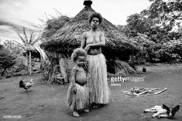 Mother and her little Girl Tanna Island Tribe Village Vanuatu