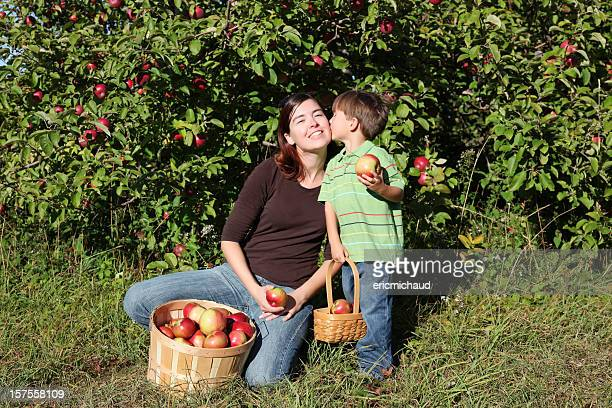 Mother and her son in nature