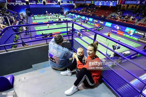 A mother and her young baby during the Yonex Badminton French Open at Stade Pierre de Coubertin on October 25 2017 in Paris France