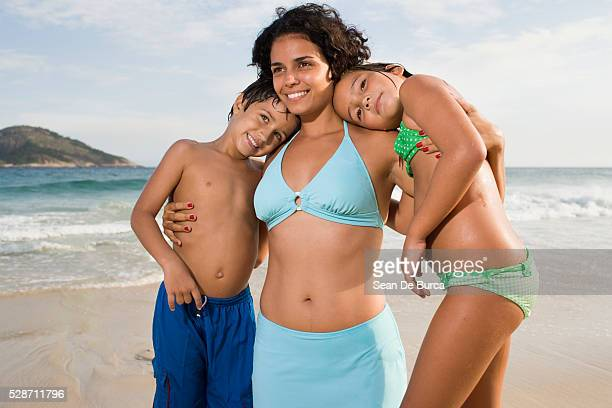 Mother and Kids at the Beach